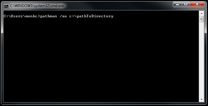 command prompt window showing pathman /au