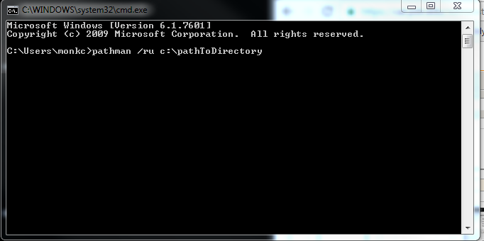command prompt window showing pathman /ru