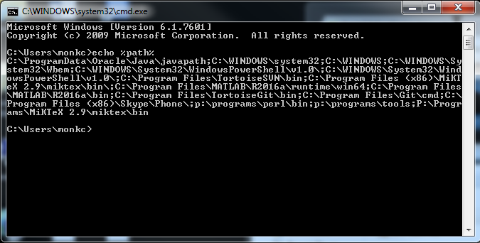 command prompt window showing output of echo %path%