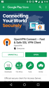 Image Showing the OpenVPN Client in the Android Google Play Store