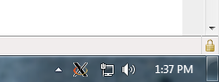 taskbar showing xming icon
