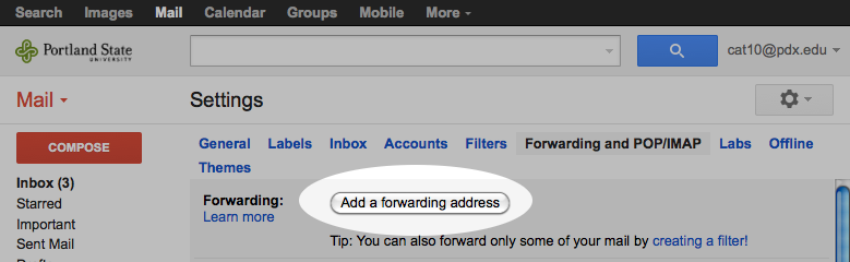 Selecting 'add a forwarding address'