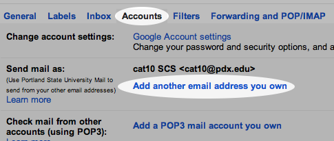 Selecting the 'Accounts' tab and clicking 'Add another email address you own'