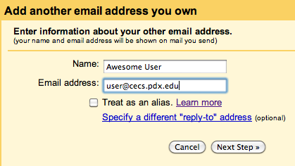 Entering your MCECS email address in the 'E-mail address' field