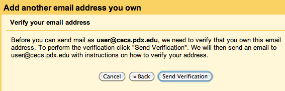 Clicking 'Send Verification' button