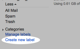 Selecting 'Create new label'