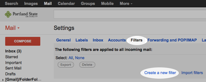 Selecting the 'Filters' tab