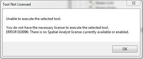 Tool not licenced error window