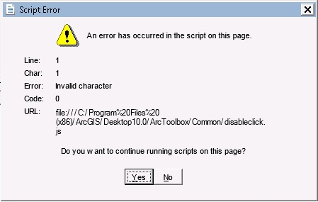 Script error message window