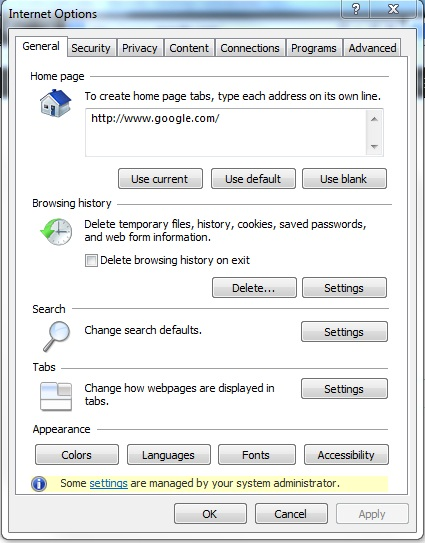Internet explorer internet options window