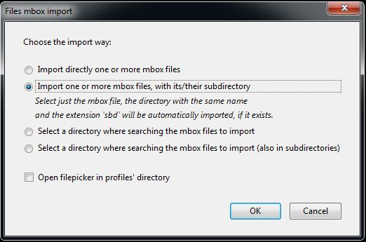 Image of mbox Prompt for Importing Files