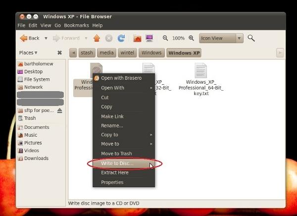 ubuntu desktop file browser popup menu with write to disc highlighted