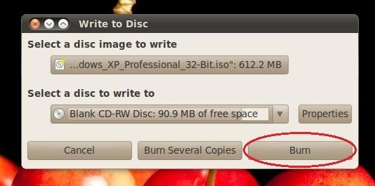 write to disk dialog window