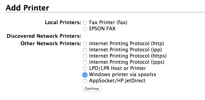 selecting windows printer via spoolss