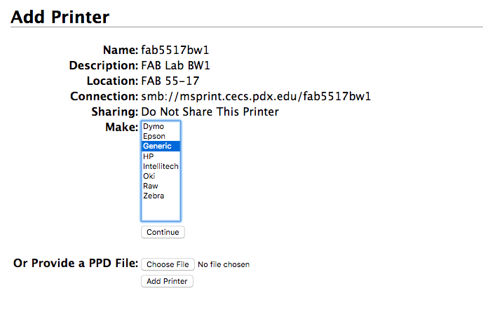 Selecting printer make