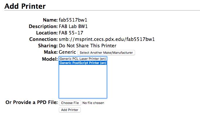 select printer model