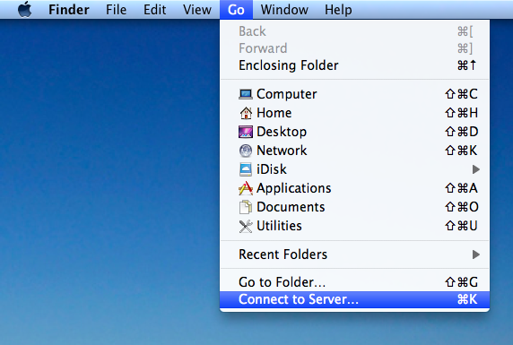 connect to server drop down in Finder