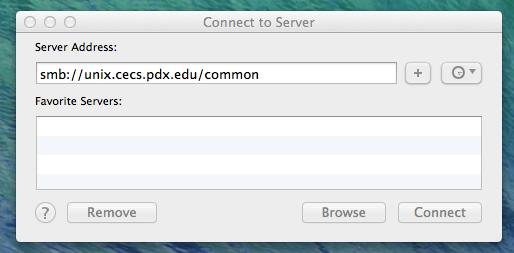 Enter file server adress