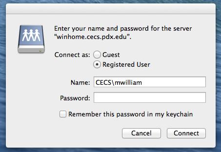 entering MCECS credentials