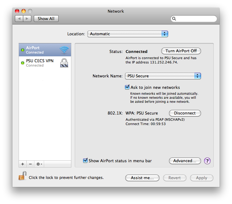 MacOS network preference pane