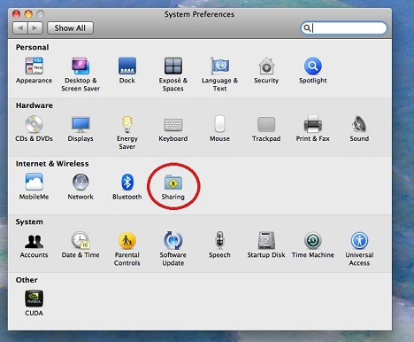 sharing icon highlighted on system preferences