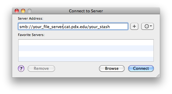 Address box to enter your file server path to stash