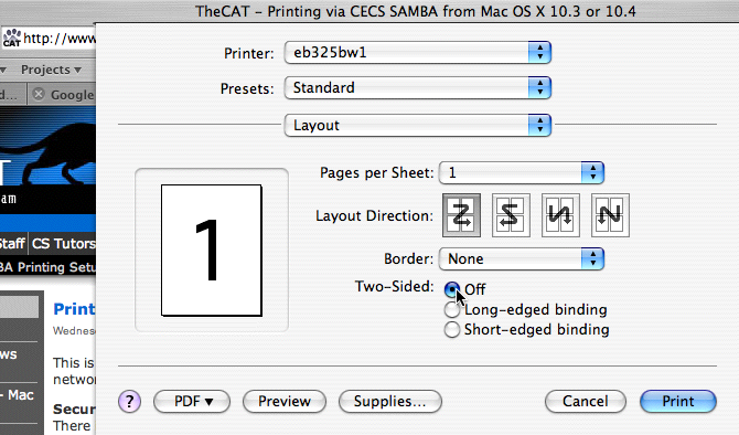 make two-sided printing selection from print dialog