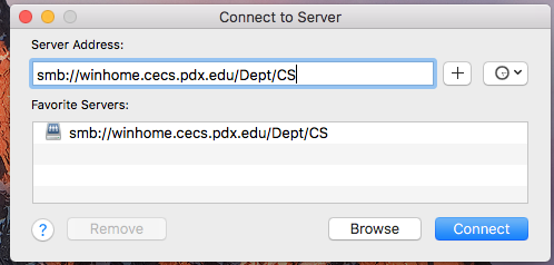 box to enter server address
