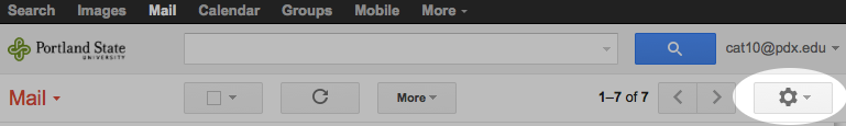 Image of the Gmail Gear Menu