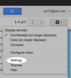 Image of the Gmail Settings Menu