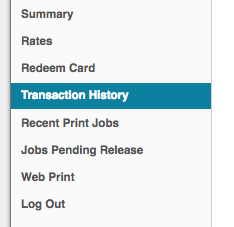 papercut menu with transaction history highlighted