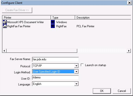 Configure Client Window showing changed configuration settings