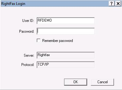 RightFax login prompt