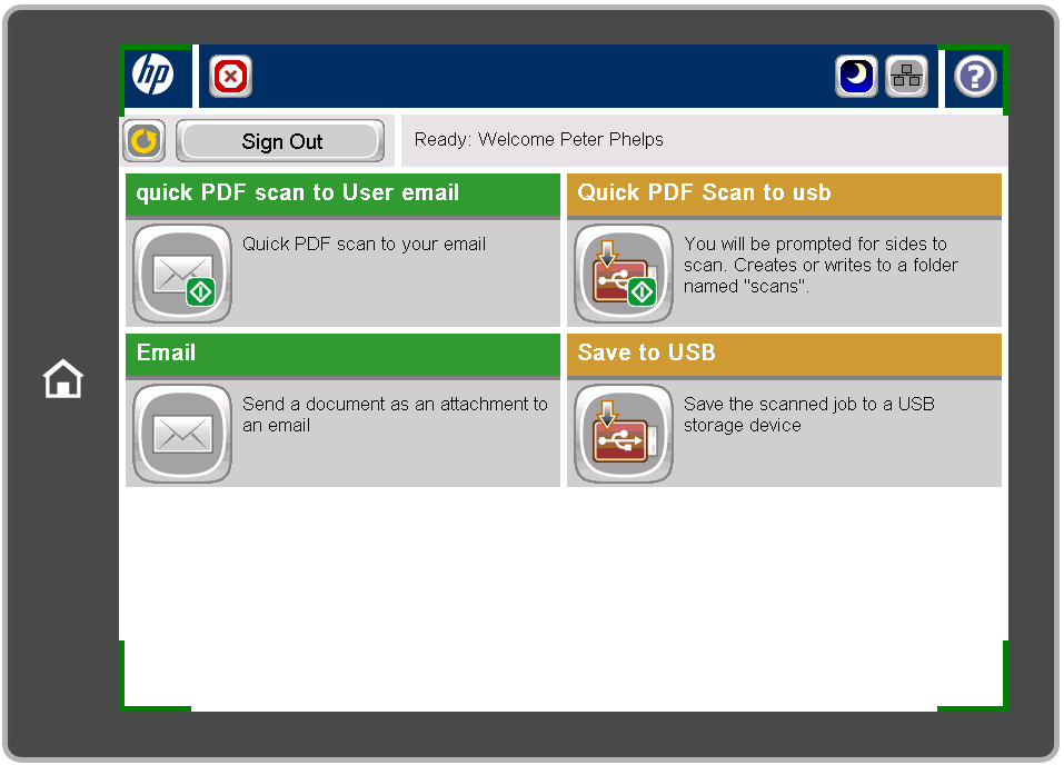 display showing four main scanning choices