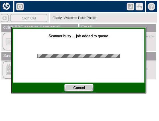 scanner busy ... job added to queue popup