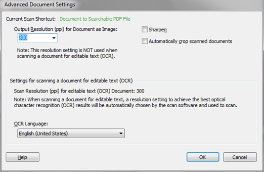 Advanced Document Settings window