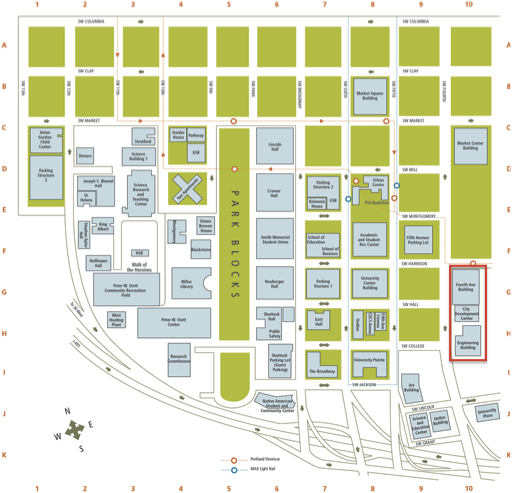campus map showing FAB/EB highlighted