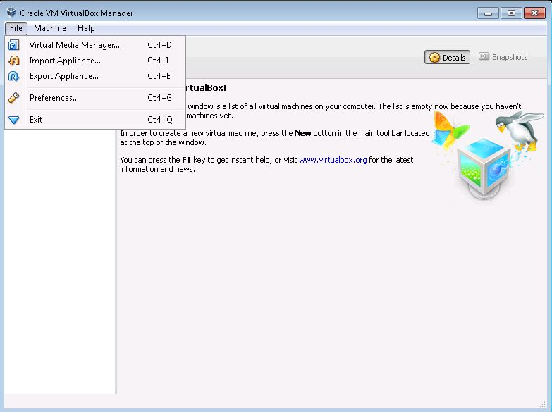 Image showing the file menu in Virtual Box