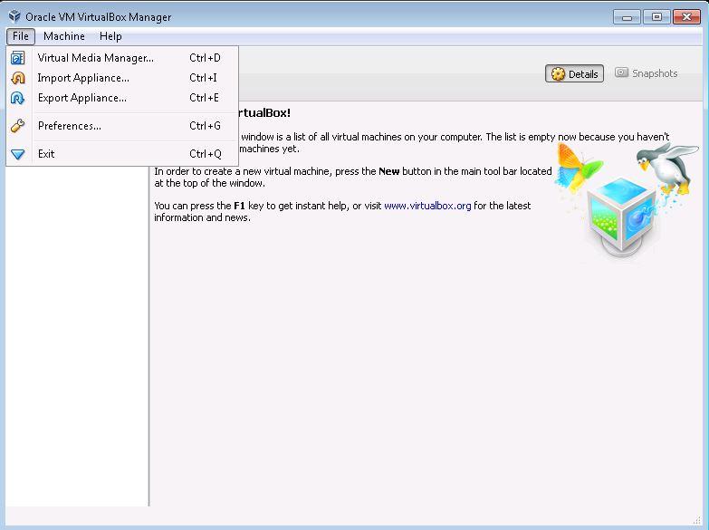 Image showing the file menu in Virtual Box