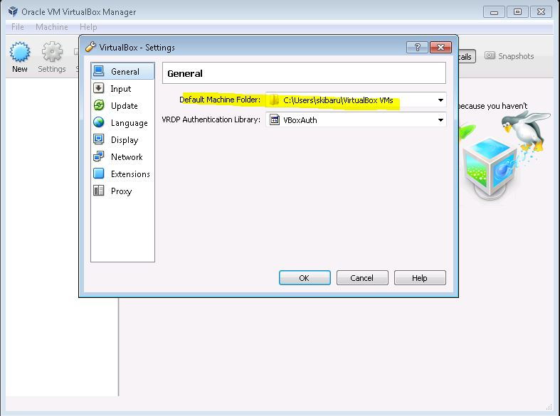Image showing the General Settings of Virtual Box