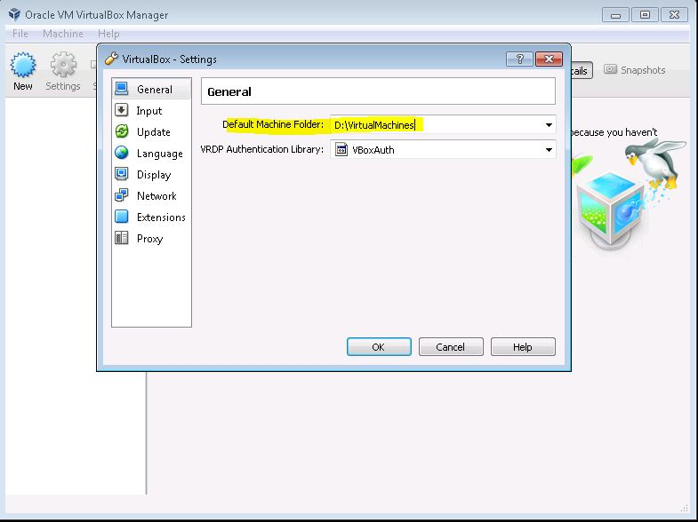 Image of the VirtualBox Settings for File Locations