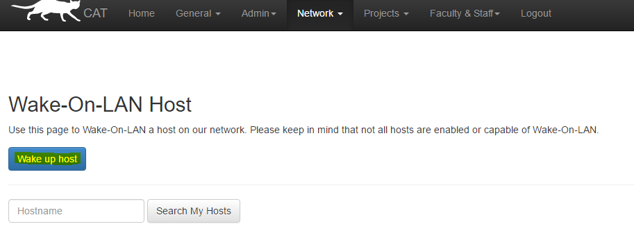Image of the Wakeup Host Button in Intranet