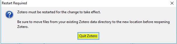pop-up window to quit zotero