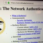 photo of mit kerberos website front page