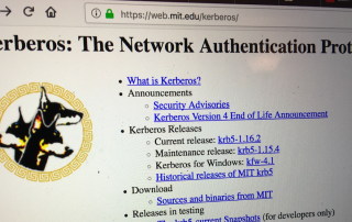 photo of mit kerberos website front page