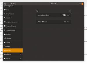 The network settings dialog in Ubuntu 18.04