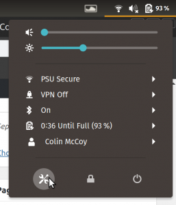 Ubuntu 18.04 system tray with settings button