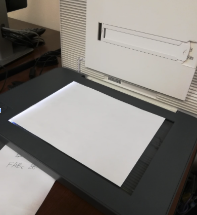 Scanner with paper