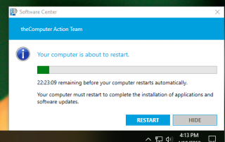 late stage alert popup from software update