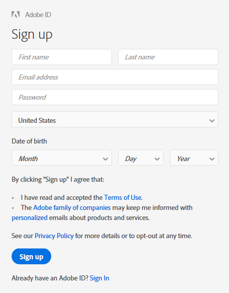 Adobe Creative Cloud Adobe ID Sign Up box